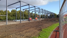 Steel frames up and ground levelled